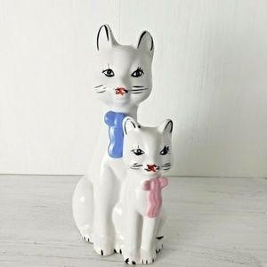 Vintage Ceramic Cat Figurine 2 Cats Kitten Bows